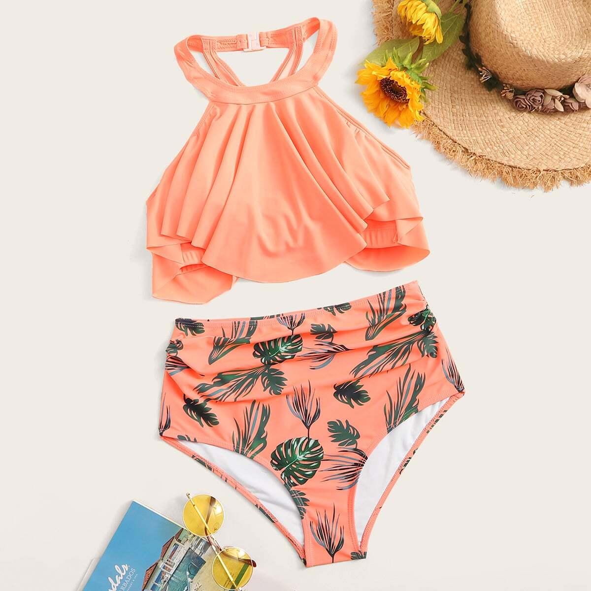 Hanky Zoom haltertop met tropische bikiniset