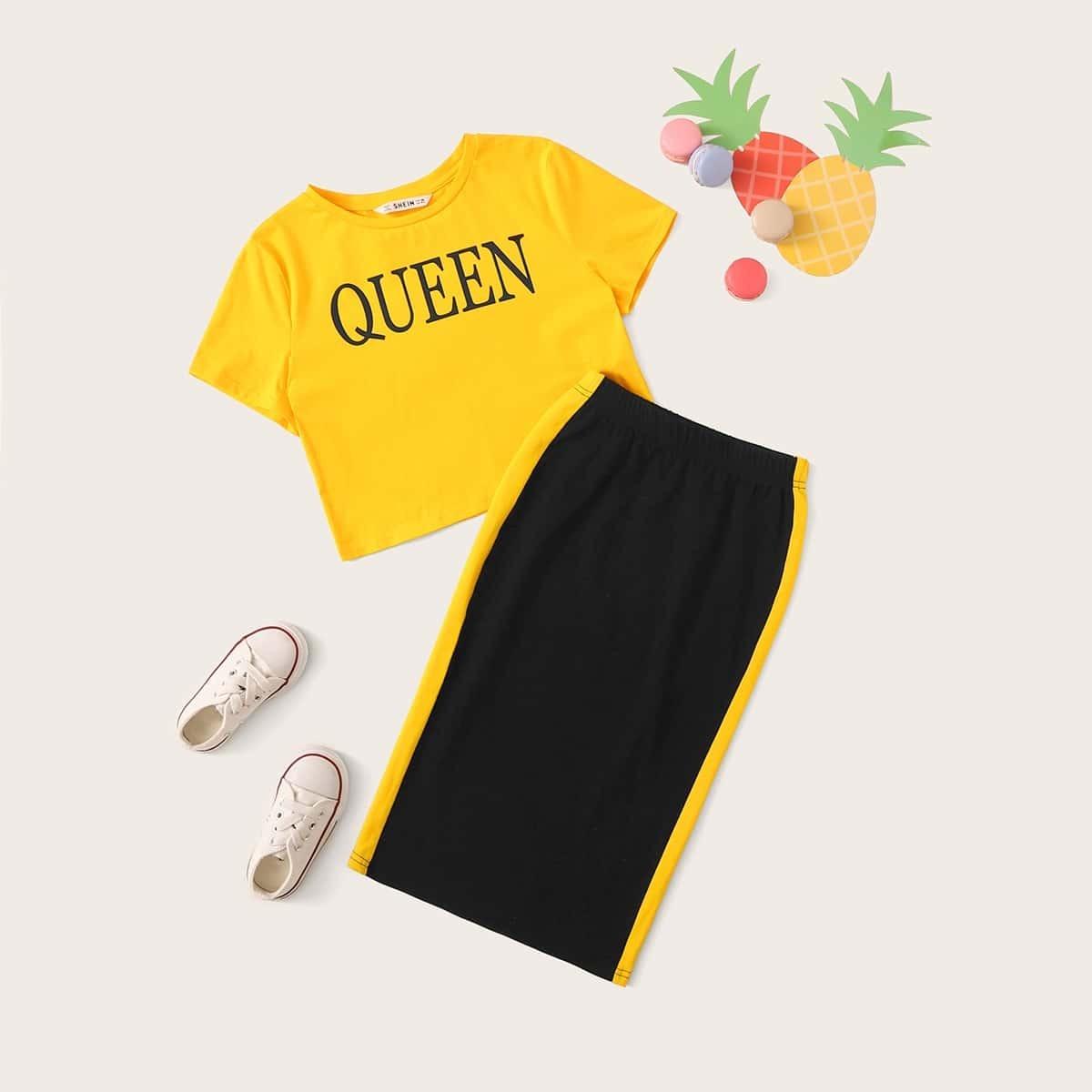 Топ с текстовым принтом и полосатая юбка для девочек от SHEIN