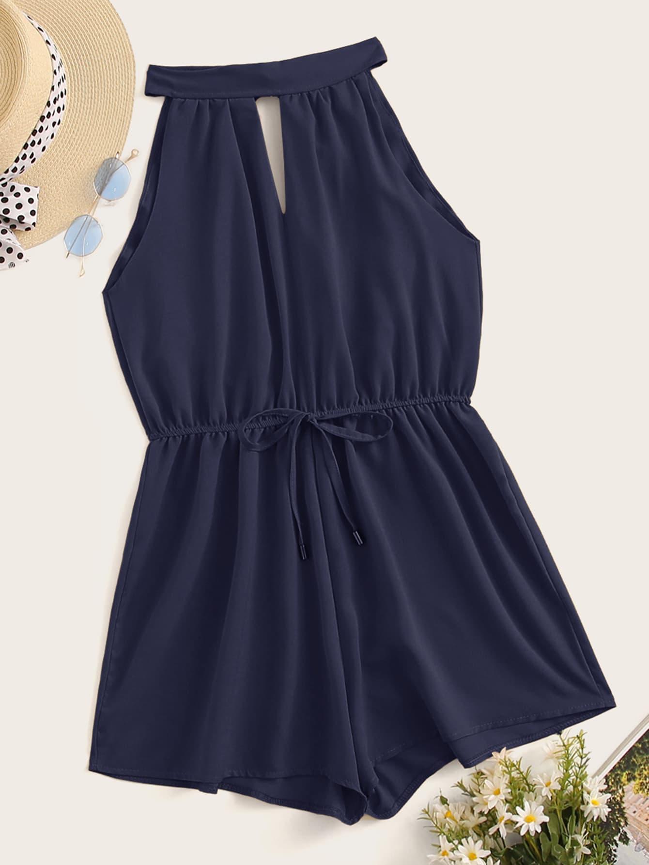 Фото - Комбинезон с халтером, завязкой, поясом и застежкой сзади от SheIn цвет темно синий