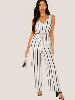 V-Neck Waist Tie Sleeveless Stripe Jumpsuit