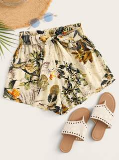 Botanical Print Paperbag Waist Self Belted Shorts