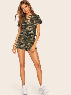 Laddering Cut Neck Camo Top and Shorts Set