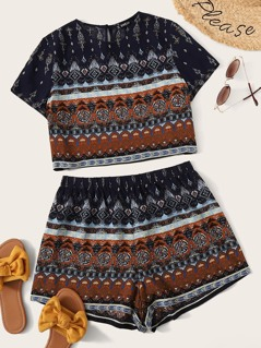 Mock-neck Tribal Print Crop Top and Shorts Set