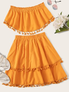 Frill Trim Bandeau Top & Tassel Hem Skirt Set