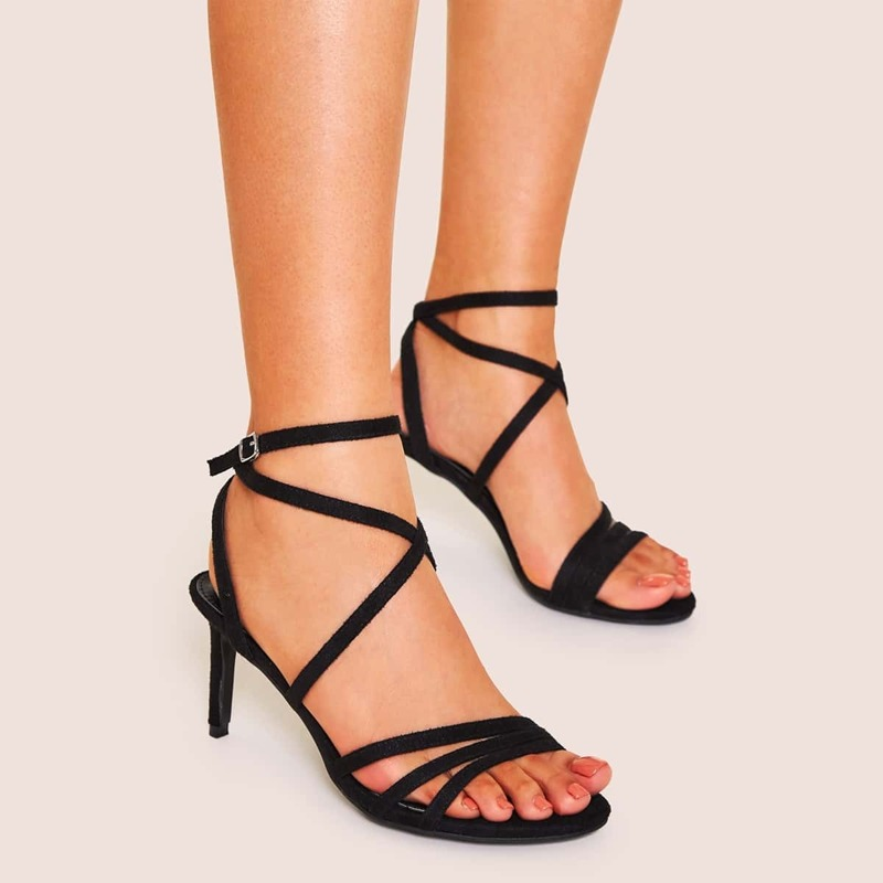 Ankle Strap Suede Strappy Stiletto Heels, Black