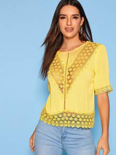 Solid Guipure Lace Insert Top