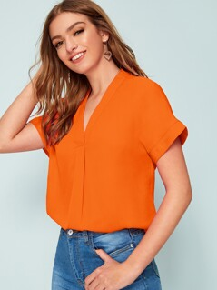 Neon Orange Gathered Detail Top