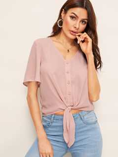 Solid Button Front Knotted Hem Shirt
