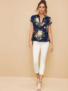 V-cut Botanical Print Top