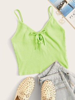 Neon Green Lace Up Front Rib-knit Cami Top