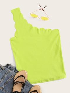 Neon Lime Scallop Trim Rib-knit Tank Top