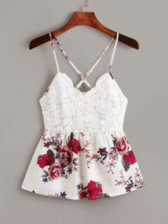 Tie Back Guipure Lace Floral Print Top