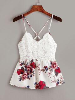 Tie Back Guipure Lace Floral Print Top