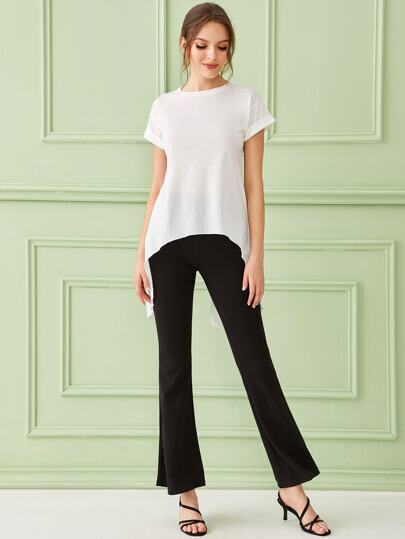 SheIn / High Low Roll Up Sleeve Split Tee