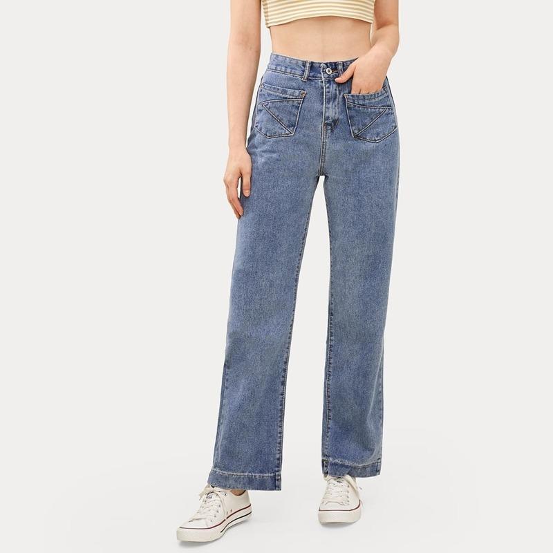 High Waist Straight Leg Jeans, Blue