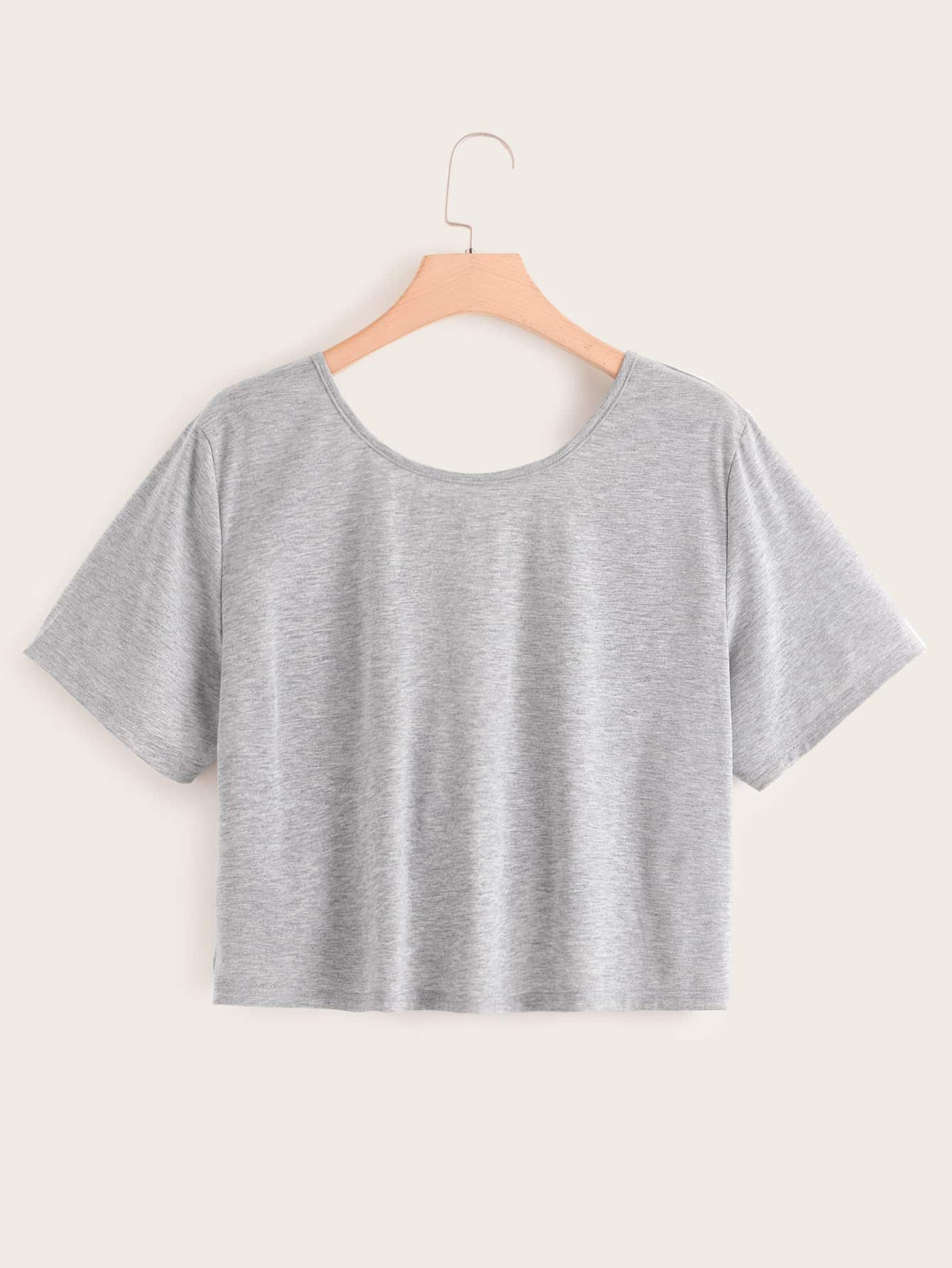 Фото - Однотонная футболка размера плюс с драпировкой от SheIn цвет серые