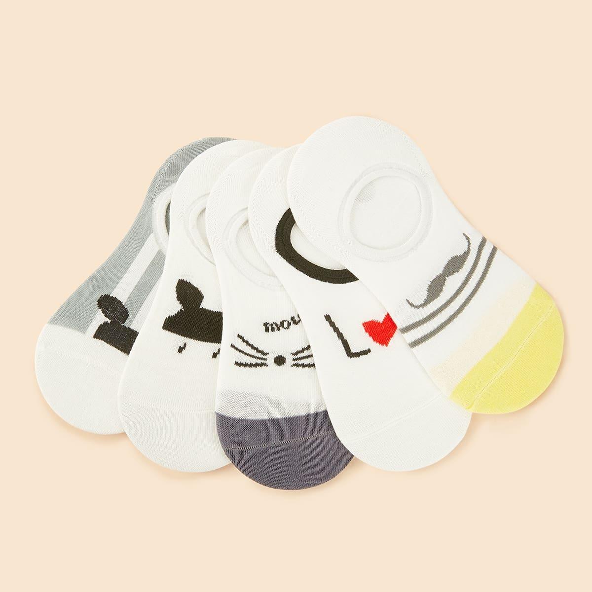 SHEIN / Karikatur Muster unsichtbare Socken 5 Paare