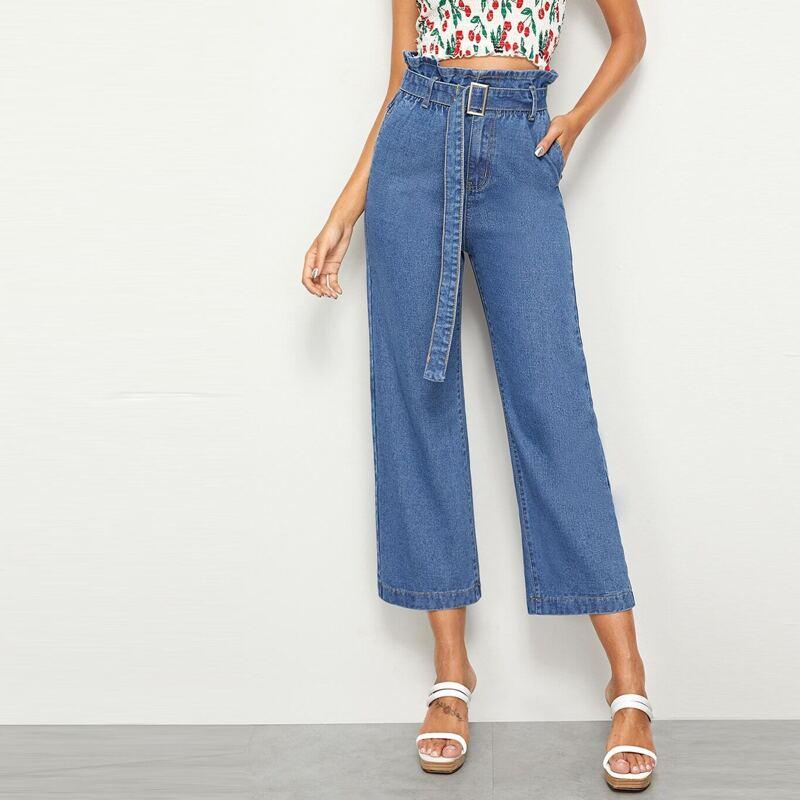 Paperbag Waist Belted Crop Wide Leg Jeans, Blue