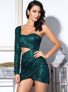 LOVE&LEMONADE One Shoulder Cut-out Sequin Bodycon Mini Dress