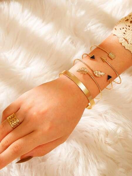 Leaf Decor Bangle Bracelet & Ring 5pcs