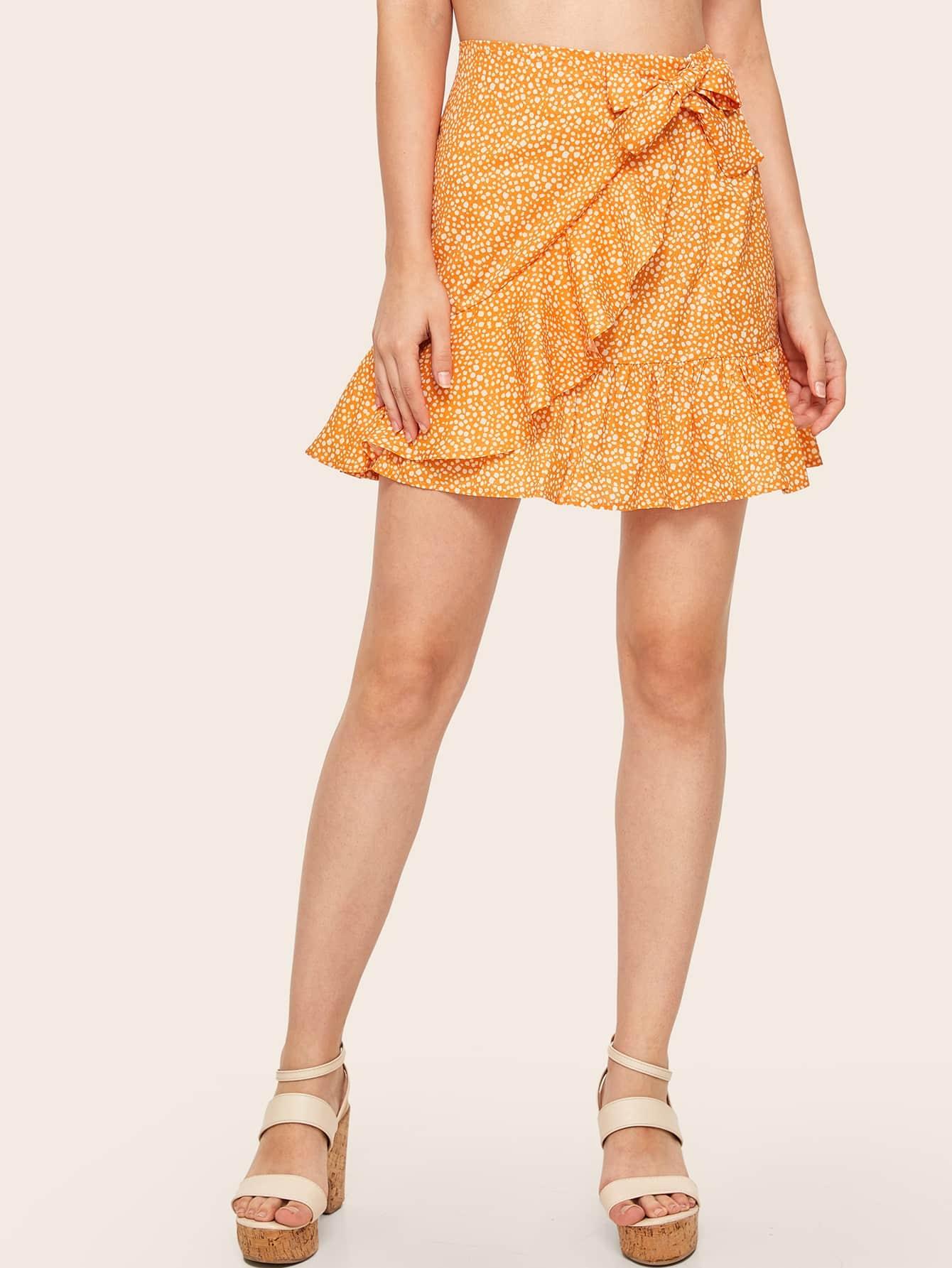Фото - Юбку с далматинским принтом от SheIn желтого цвета