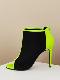 Neon Two Toned Open Toe Stiletto Heel Ankle Boots