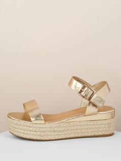 Metallic Open Toe Ankle Strap Flatform Sandals