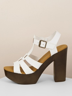 Wood Platform Open Toe Block Heel Sandals