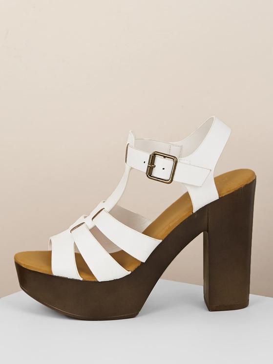 Wood Platform Open Toe Block Heel Sandals