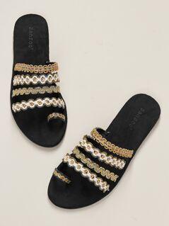 Metallic Multi Strap Toe Loop Flat Slide Sandals