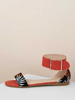 Open Toe Two Toned Buckled Ankle Leaf Sandals
