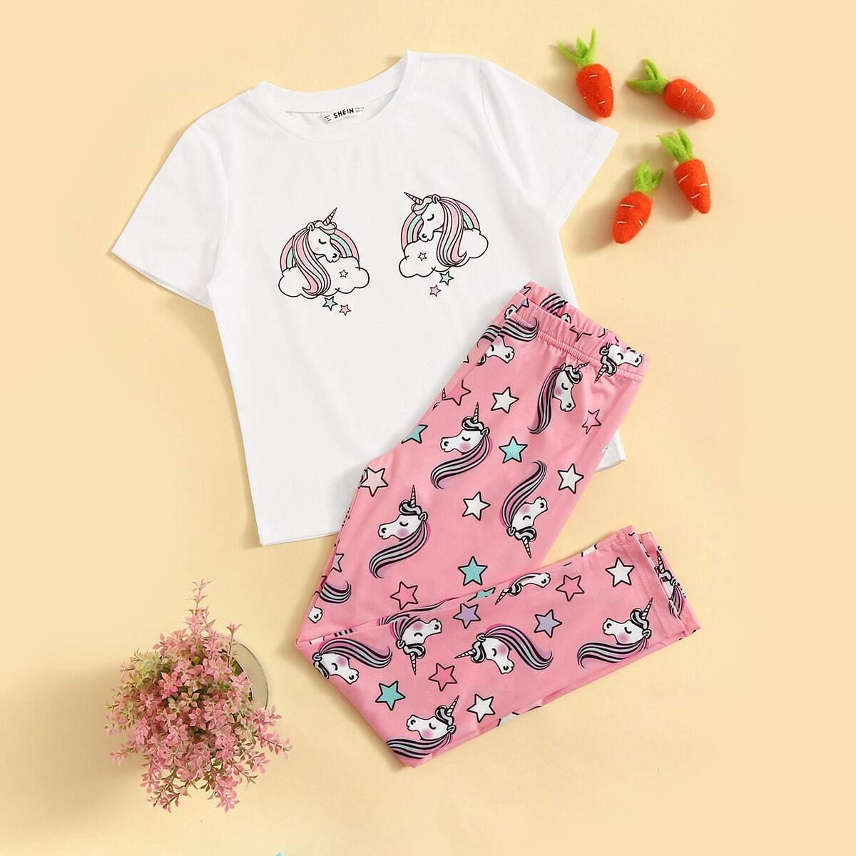 Топ с принтом единорог и брюки для девочек от SHEIN