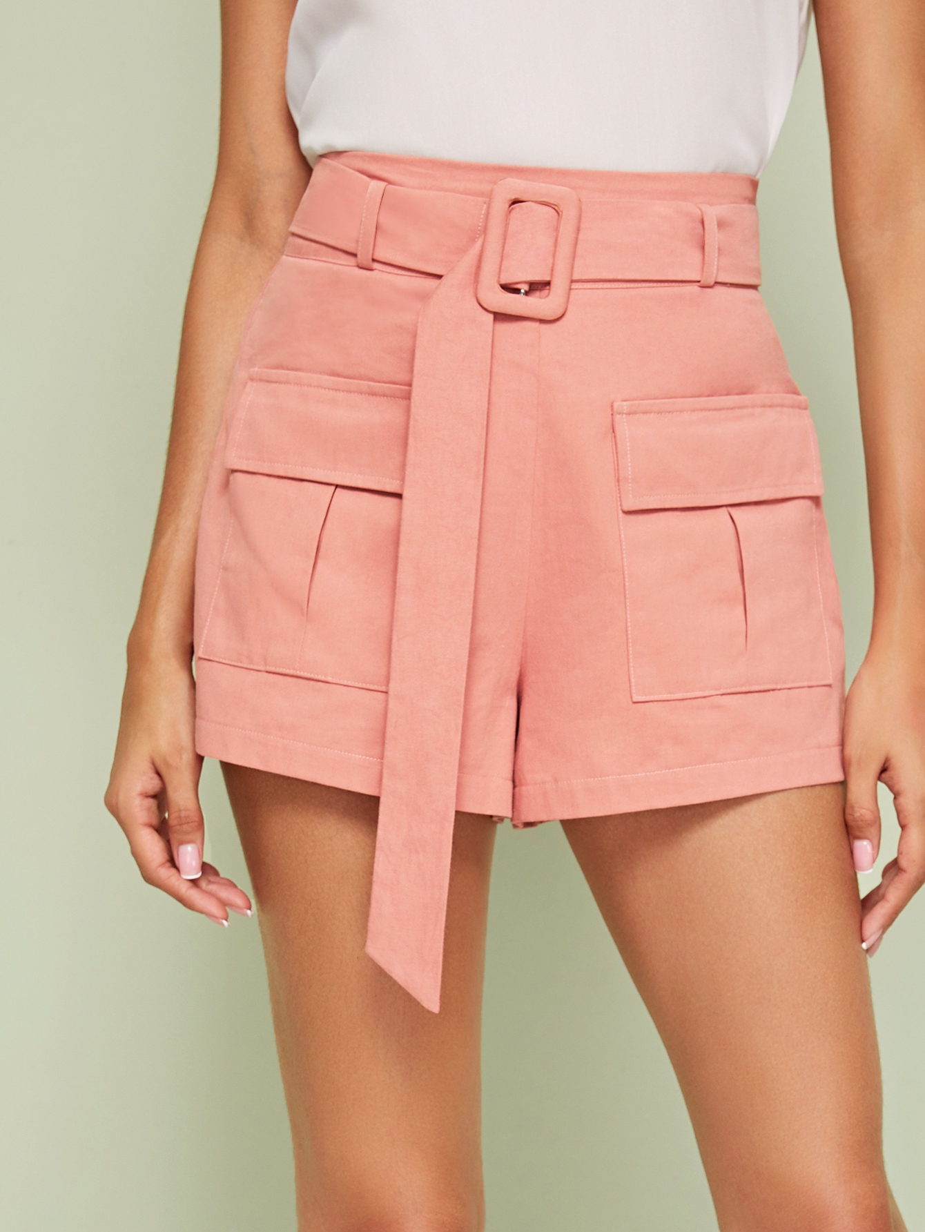 Solid Flap Pockets Belted Cargo Shorts