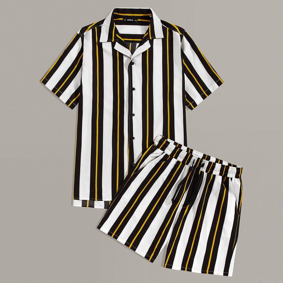 Мужские шорты и рубашка в полоску от SHEIN
