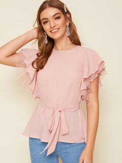 Embroidered Mesh Ruffle Trim Self Belted Blouse