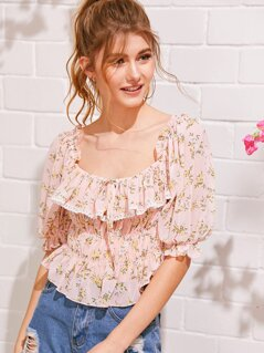 Lace Trim Ruffle Foldover Shirred Ditsy Floral Top