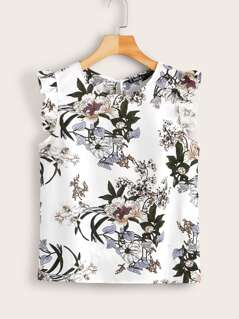 Keyhole Back Ruffle Armhole Floral Print Top