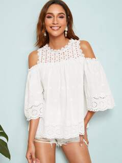 Cold Shoulder Frill Trim Schiffy Top