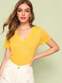 Yellow | V-neck | Neon | Top