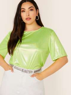 Plus Neon Lime Glitter Top