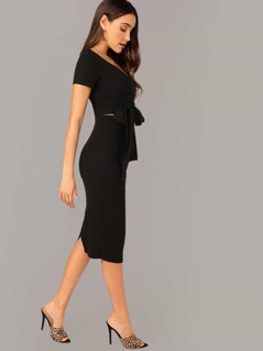 Wrap Belted Fitted Top & Split Pencil Skirt Set