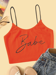 Neon Orange Letter Print Rib-knit Crop Cami Top