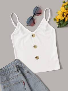 Button Detail Rib-knit Cami Top