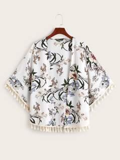 Open Front Tassel Trim Floral Print Kimono