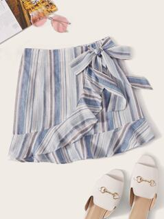 Tie Front Ruffle Hem Striped Skirt