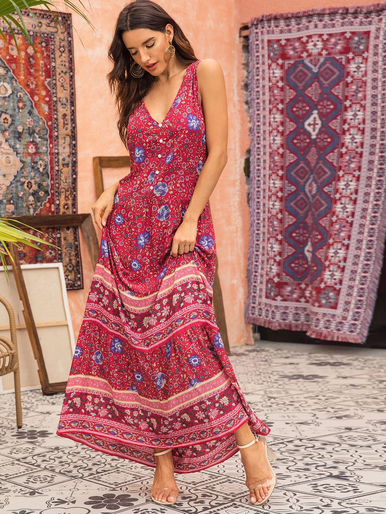Фото - Платье с графическим принтом без рукавах от SheIn цвет многоцветный