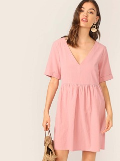 V-neck Rolled Cuff Solid Dress