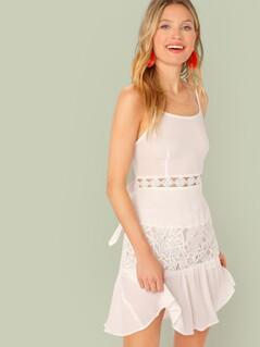 Cutout Tie Back Lace Insert Slip Dress