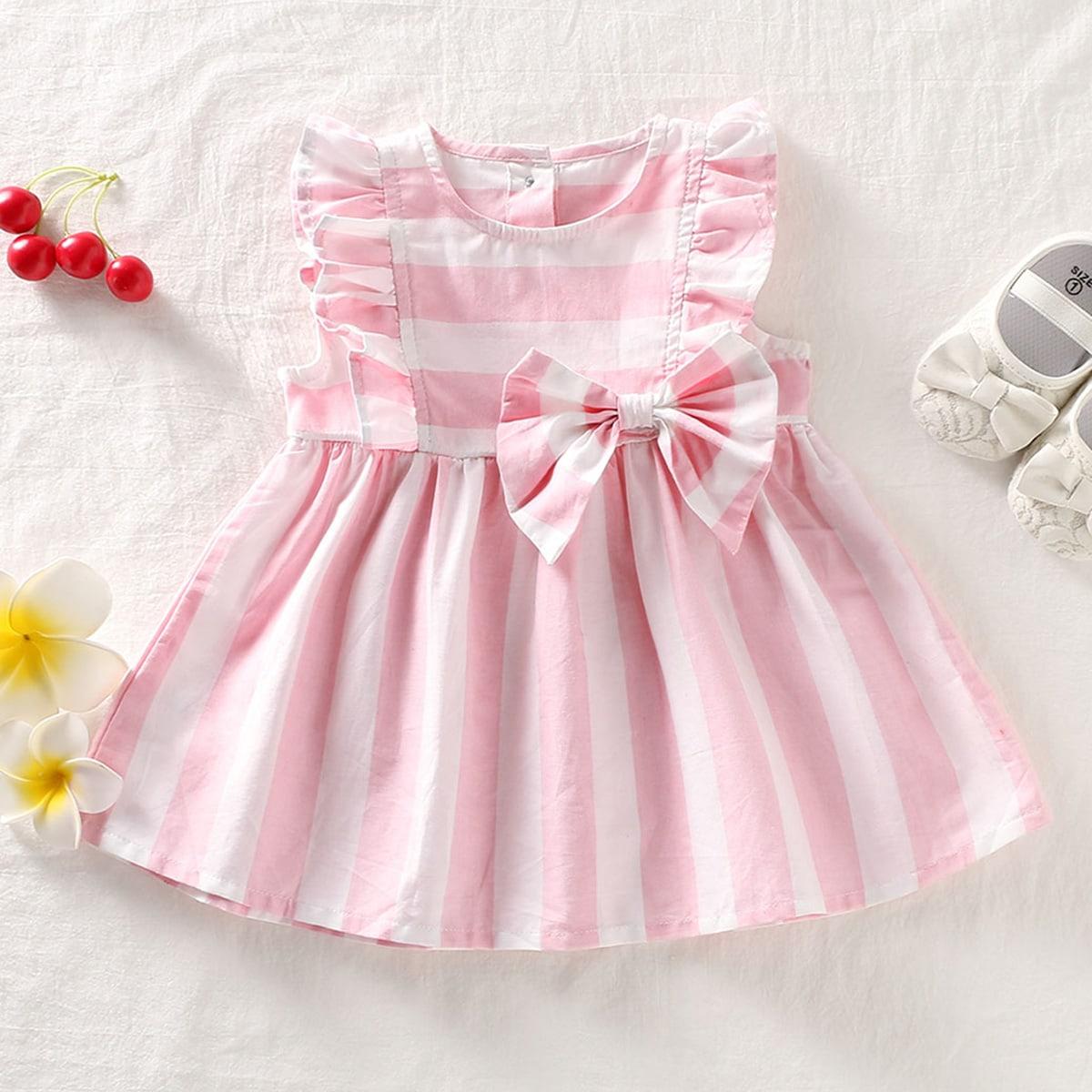 Полосатое платье с узлом и оборкой для девочек от SHEIN