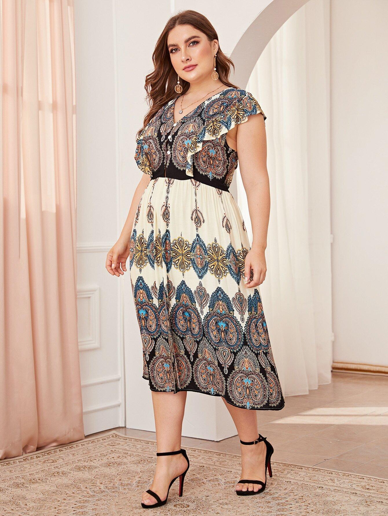 Фото - Платье размера плюс с племенным принтом и разрезом от SheIn цвет многихцветные